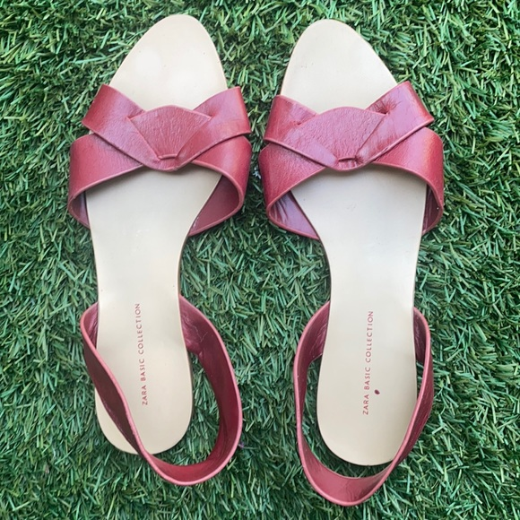 Zara Red Sling Leather Sandals